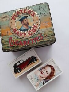 players navy cut cigarette tin with 1930s  cigarette cards vintage