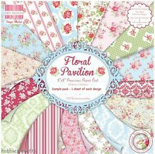 DOVECRAFT FLORAL PAVILION PAPER 8 X 8 SAMPLE PACK 1 OF EACH DESIGN -  16 SHEETS
