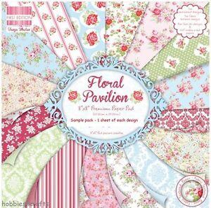 FLORAL PAVILION DOVECRAFT  8 x 8 Sample Paper Pack - 16 Sheets 200gsm cardstock