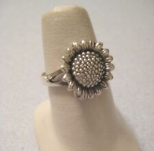 Mexican 925 Silver Taxco Oxidized Etched Sunflower Daisy Flower Ring Size Choose
