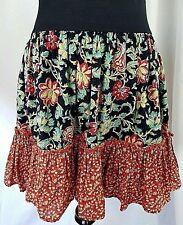 Hawaiian Multi Color Floral Mini Skirt Ruffle Hem Elastic Band Waist
