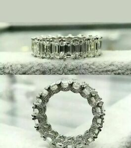 7Ct Emerald Cut Diamond Full Eternity Wedding Band Ring 14k White Gold Over