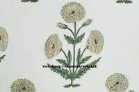 By Yard White fabric Fabric Cotton Indian Dress Cloth Hand Block Print Fabric