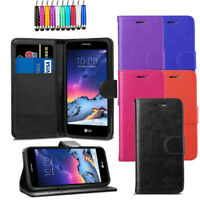 Premium Leather Flip Wallet Case Magnetic Cover For LG K8 2017 + Screen + Stylus