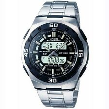 Casio Para Hombre Pulsera Combi Watch, Negro Y Plata, aq-164wd-1aves