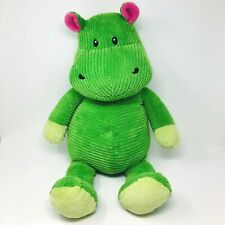 "Old Navy Green Hippo Plush Corduroy Pink Stuffed Toy 28"" Chenille Jungle Safari"