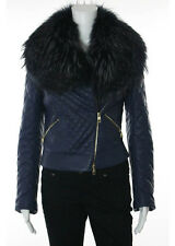 BALLY Navy Blue Lambskin Murmansky Trimmed Collar Zippered Coat Jacket Sz 4