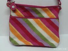 The Sak Rainbow Woven/Crochet Handbag Stripes Beach Purse