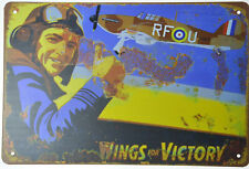 """WINGS FOR VICTORY RAF SPITFIRE PILOT ACE POSTER  RETRO TIN METAL SIGN 12x8"""" NEW"""