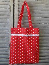 Red Spotted Shopper Market Bag Tote Bag Lace Trim