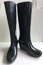 HUNTER Champery W23955 Womens Black Tall Rain Boots Wedge Size US 7m EU 38