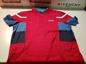 $1 AUCTION Men's Size MED Hugo Boss Red / Blue / Black 3 Button Polo Shirt (M)