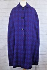 Vintage Eclipse Welsh Woollens Tapestry Wool Purple Button Cape Cloak M 12-14