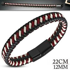 Man Bracelet Black Leather And Steel Clasp Red Color Bordeaux And White Foot