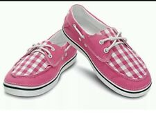Crocs Women's W6  Hover Boat Deck Shoe Hot Pink Oyster Solid Gingham Canvas•NEW•