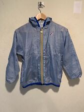 K-Way Boy's Full Zip Hooded Windbreaker Jacket Size 8 MEDIUM Blue Zip Pockets