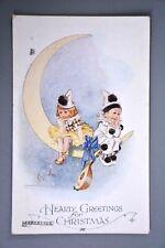 Postcard, J Salmon/T Gilson, Christmas Greetings, Pierrot Children Mandolin