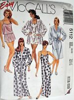 McCall's Sewing Pattern # 5112 Misses Sleepwear Robe, Gown, Pajamas Choose Size