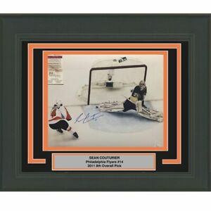 FRAMED Autographed/Signed SEAN COUTURIER Flyers Vs Fleury 16x20 Photo JSA COA