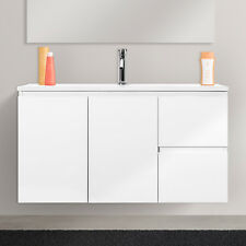 Mobile bagno sospeso moderno salvaspazio bianco lucido completo di lavabo 100 cm