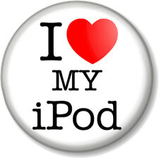 "I Love / Heart my iPod 1"" 25mm Pin Button Badge Apple iMac iPhone iTunes Music"