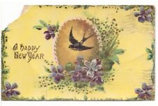 A Happy New Year, Flowers, Bird, Vintage 1912 Gelatin Postcard