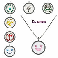 Black Aroma Necklace Alloy Locket Essential Oil Diffuser Perfume Size 30mm