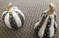 Mackenzie Childs Inspired Ceramic Salt & Pepper Shakers Black White Gold