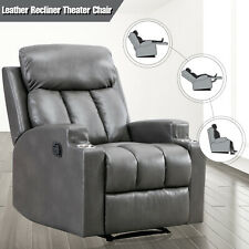 Leather Recliner Chair Thick Backrest Sofa w/ 2 Cup Holders Home Theater Seating