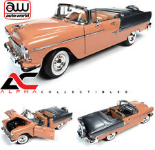 AUTOWORLD AMM1221 1:18 1955 CHEVROLET BEL AIR CONVERTIBLE CORAL / SHADOW GRAY