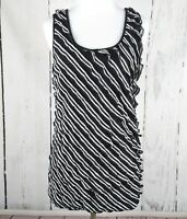 Maurices Knit Ruffle Tank Black White Top Large L Sleeveless Cami Shirt Stretch