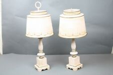 Tole Lamps Vintage Light Pink Gold Distressing Need Wiring w Shades 1 Finial