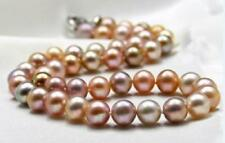 """18""""11-12MM NATURAL SOUTH SEA GENUINE GOLD PINK PURPLE ROUND PEARL NECKLACE 38aam"""