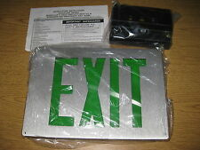 Lithonia Lighting Brushed Aluminum Green LED EXIT Sign LE S 2 G 120 / 277 EL N