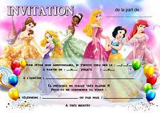 5 - 12 ou 14 cartes invitation anniversaire princesse réf 457
