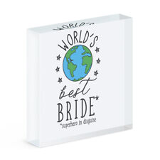 World's Best Bride Acrylic Photo Block Frame Funny Favourite Wedding Favour