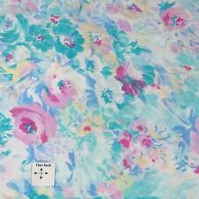 Vintage Schwartz Liebman Cotton Fabric, Watercolor Floral Aqua & Pink, Per Yd