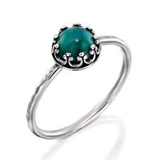 Antique Style Hand Hammered 925 Sterling Silver Turquoise Ring, Women's Size 7