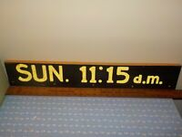 "VINTAGE Hand Carved SUN. 11:15 a.m. Church Painted Wood Sign 27"" x 4.5"" x 1"""