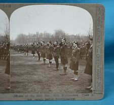 WW1 Stereoview Officers Of 15th Batn 48th Highlanders Parade Realistic Travels