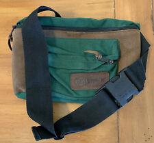Eastpak Fanny Pack Leather Canvas Bag Waist Belly Belt Olive and  Brown Vtg USA