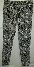 Victoria's Secret PINK Black White Leggings Tropical Palm Leaves Size M SHARP!!