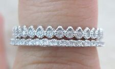 925 STERLING SILVER 2 in 1 Stackable THIN Simple Cz Rings SET of 2 Size 5 to13US