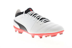 Puma One 17.3 FG 10407401 Mens White Leather Athletic Soccer Cleats Shoes 13