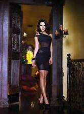 Adult Women Illusion Open Back Asymmetrical One Shoulder Dress Lingerie Black XL