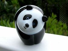 "Cute ORIENT and FLUME SIGNED Art Glass PANDA BEAR: Black/White, 3"", Original tag"