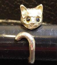 Vintage Sterling Silver Cat Kitten Wrap Around Ring w/ Gemstone Eyes 16029