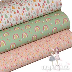 Rainbow Printed Bow Fabric Canvas Hair Bows - or Rainbow Bundle 4