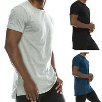 Mens Hipster Hip Hop Solid Extended Hemline Split Side T-Shirt Muscle Blouse