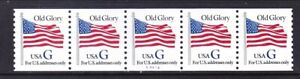 US 2890 MNH 1994 G Rate (32¢) Old Glory Blue G PNC Strip of 5 Plt #A4426